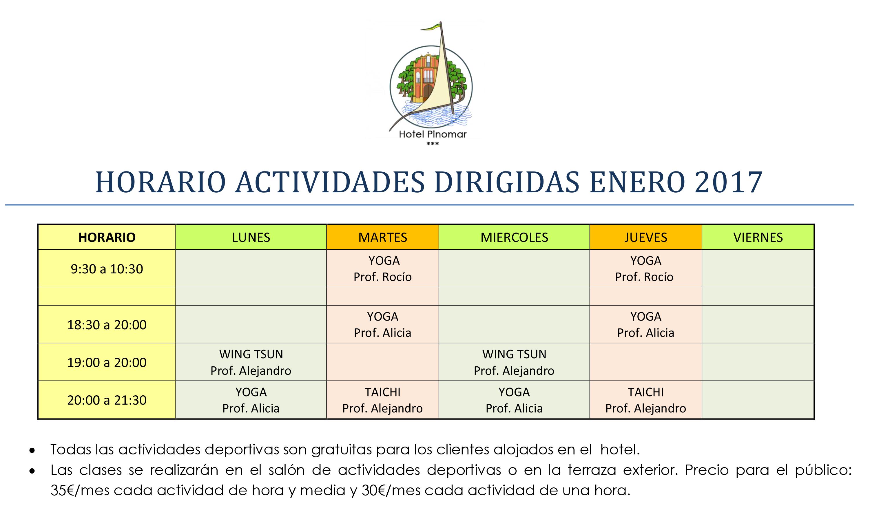 horario-actividades-dirigidas-enero-2017