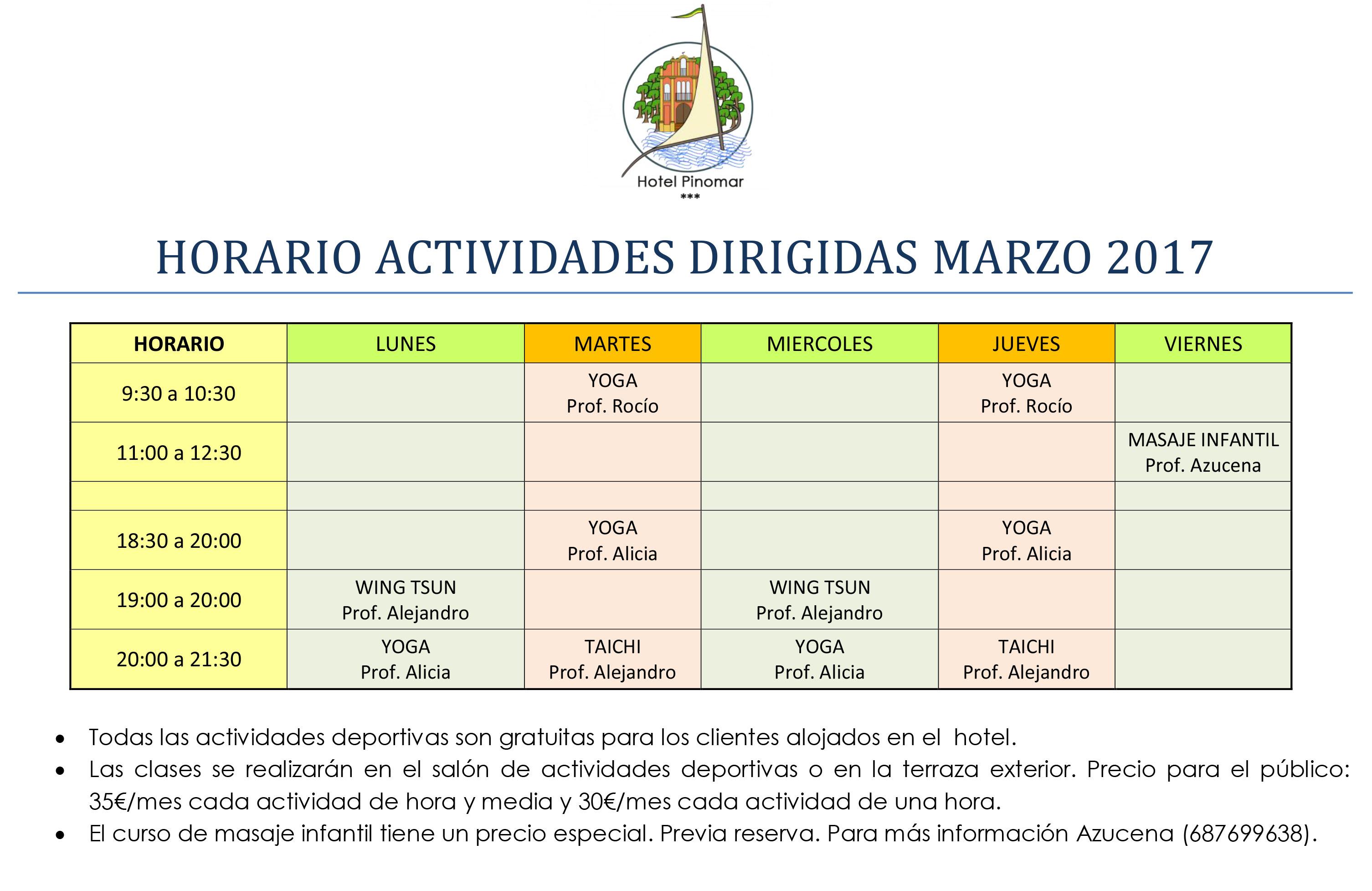HORARIO ACTIVIDADES DIRIGIDAS MARZO 2017