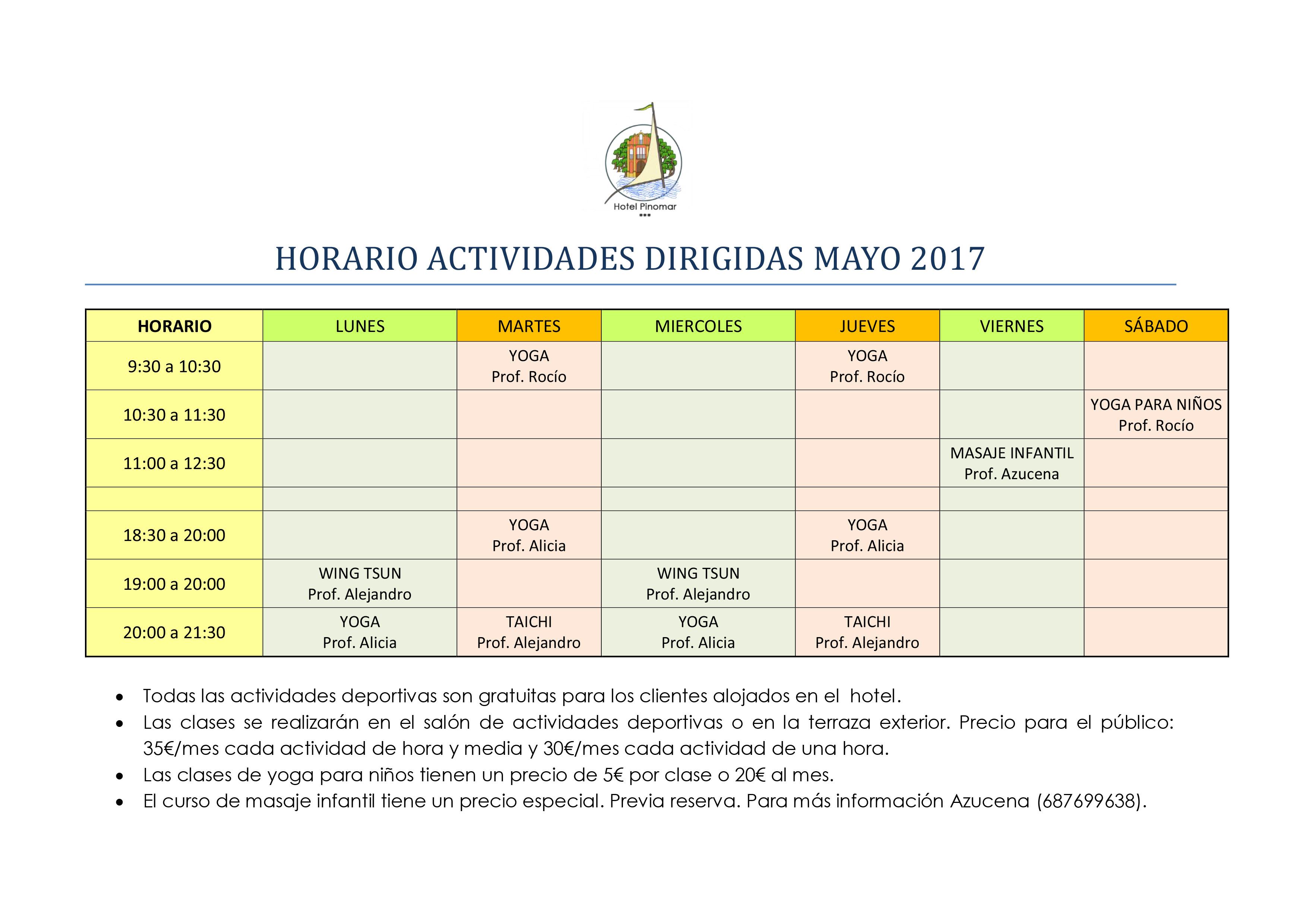 HORARIO SALA DEPORTIVA MAYO 2017