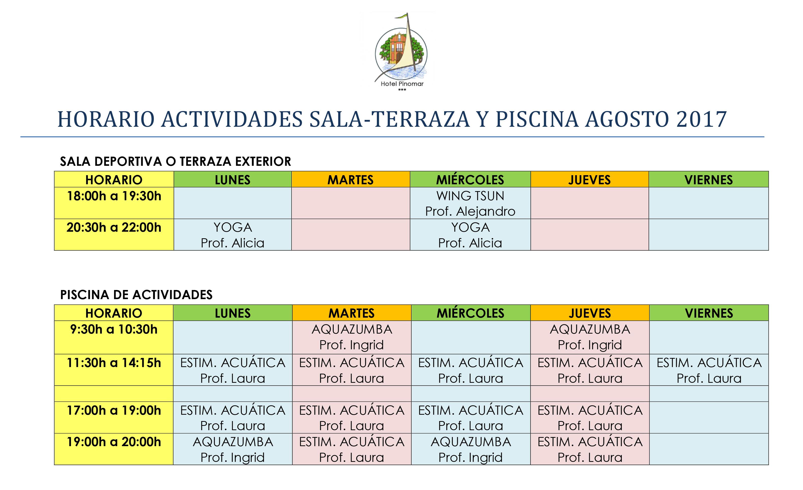 HORARIO ACTIVIDADES DIRIGIDAS AGOSTO 2017