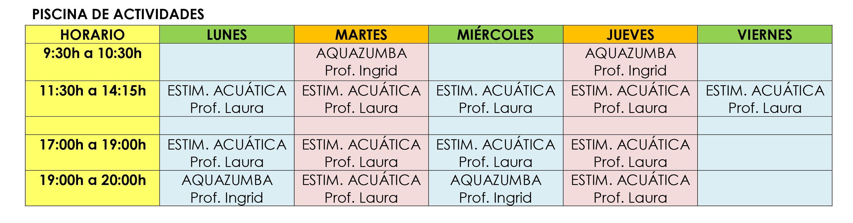 HORARIO ACTIVIDADES DIRIGIDAS JULIO 2017-1