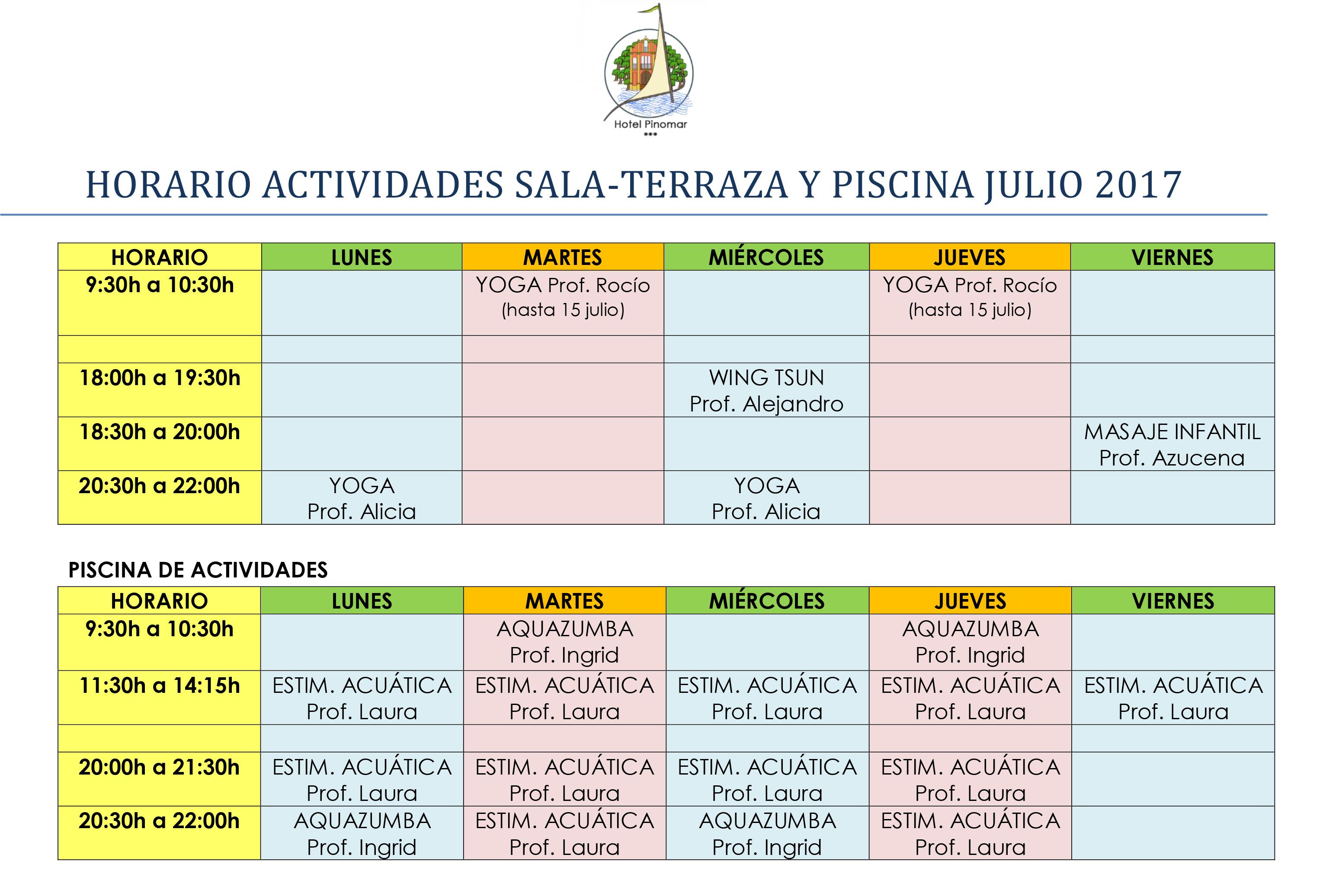 Horario actividades deportivas hotel pinomar for Piscina xirivella horario 2017
