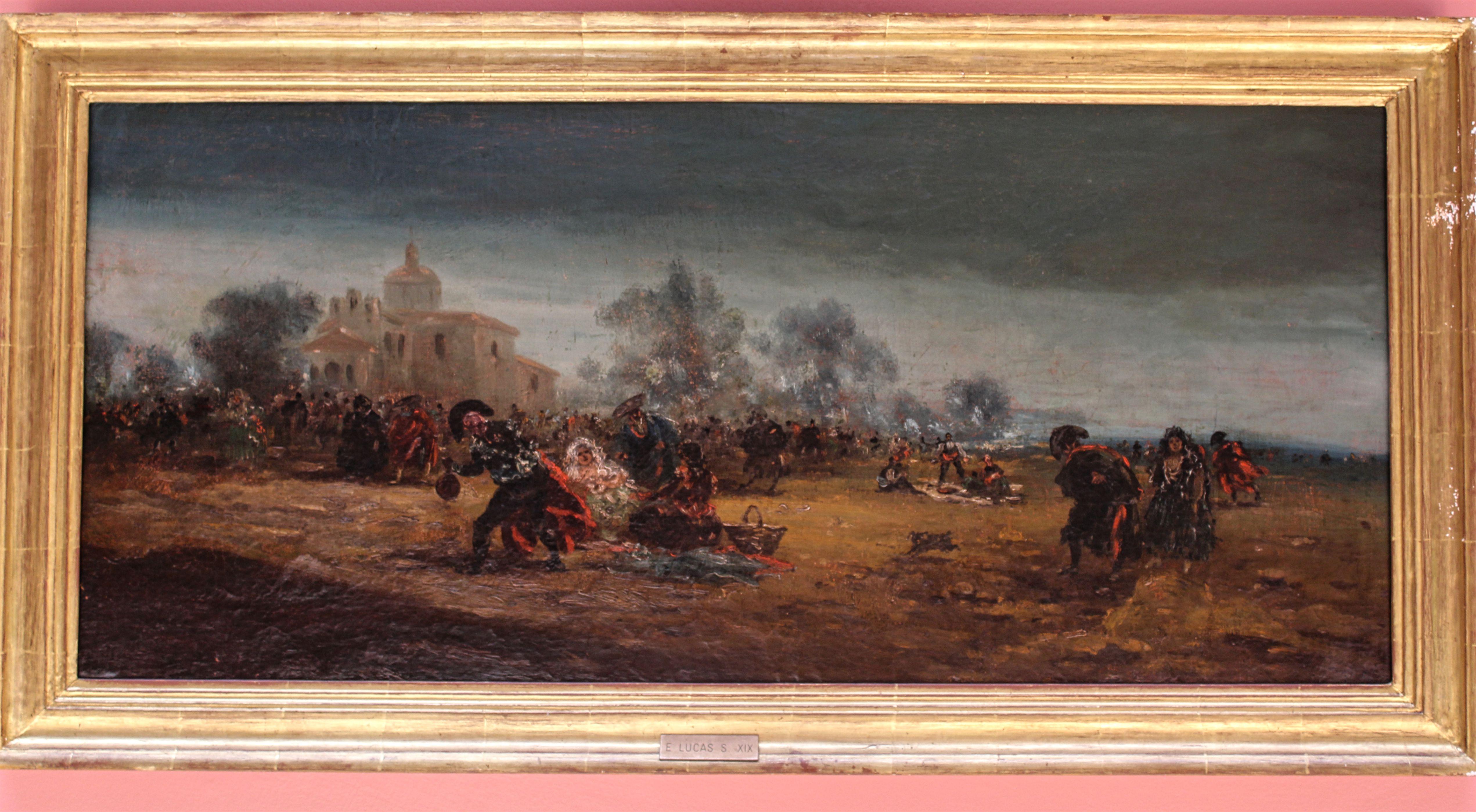 Título: Romería en Madrid. Autor: Eugenio Lucas Villaamil (Madrid 1858-1919). Galería particular. Tamaño: 74x108 cm. Fecha: 1876. Colección: Romerías.