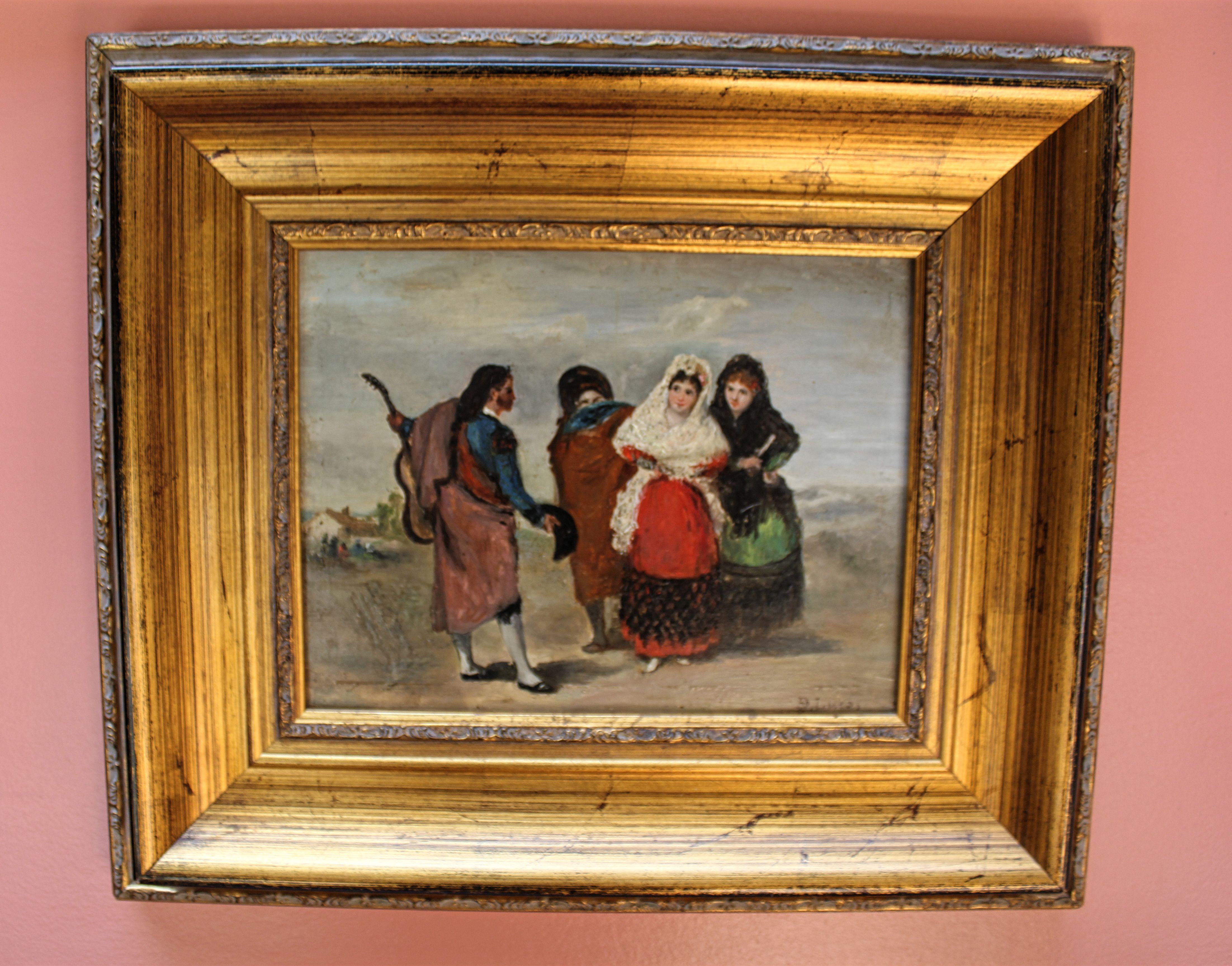 Título: Romeros madrileños. Autor: Eugenio Lucas Villaamil (Madrid 1858-1919). Galería particular. Tamaño: 31x40 cm. Fecha: 1885 aprox. Colección: Romerías.