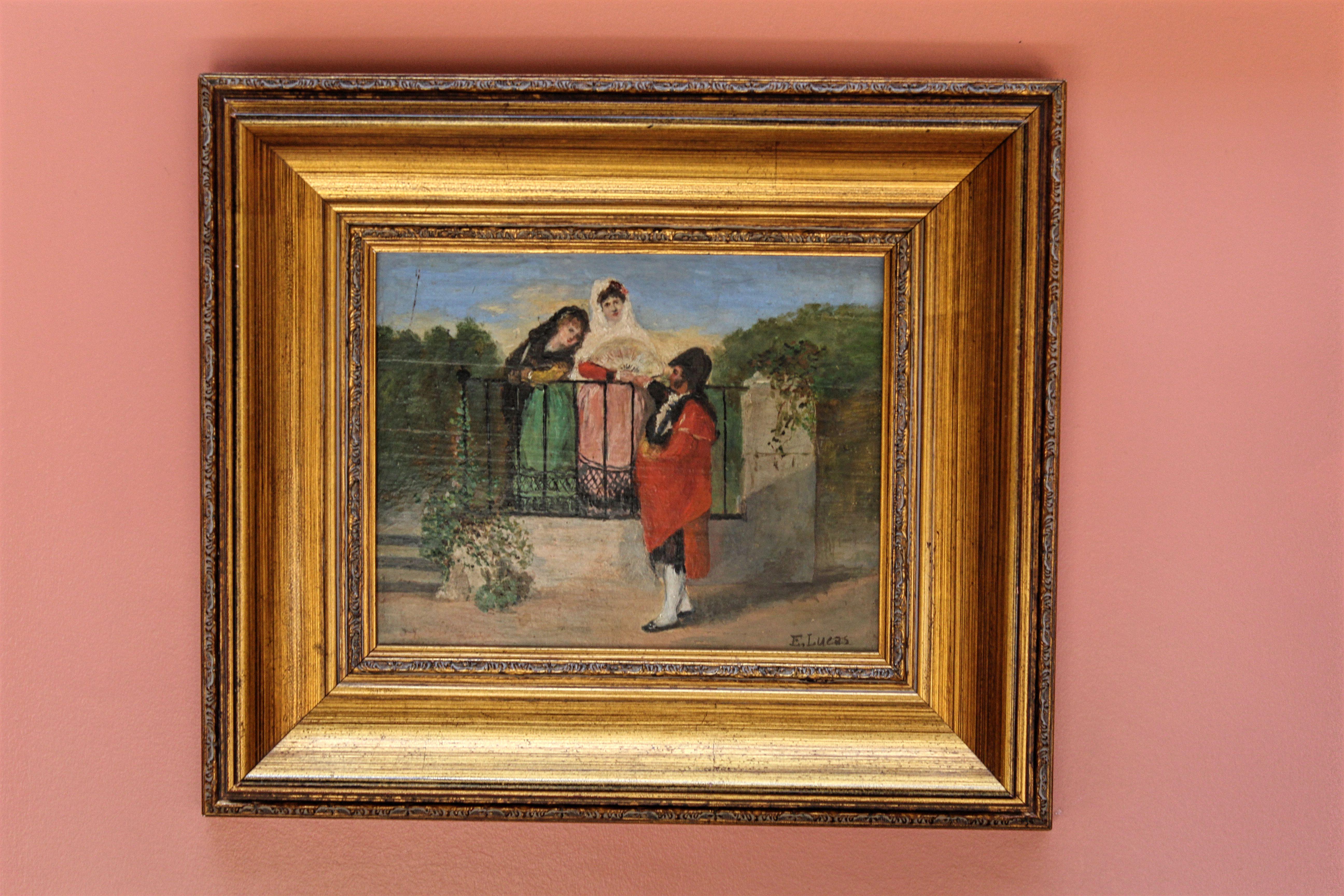 Título: Madrileños romeros. Autor: Eugenio Lucas Villaamil (Madrid 1858-1919). Galería particular. Tamaño: 31x40 cm. Fecha: 1885 aprox. Colección: Romerías.