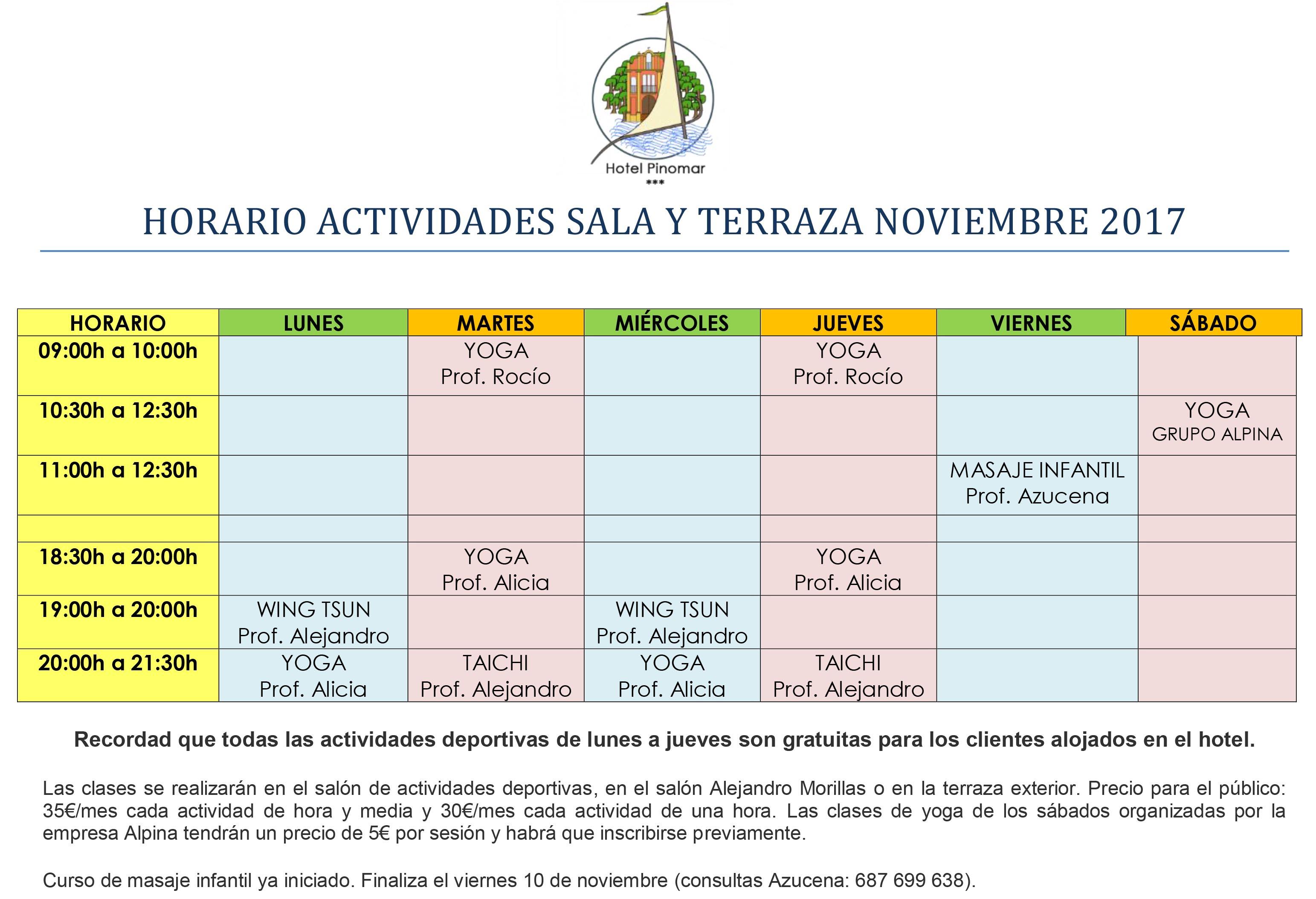 HORARIO ACTIVIDADES DIRIGIDAS NOVIEMBRE 2017