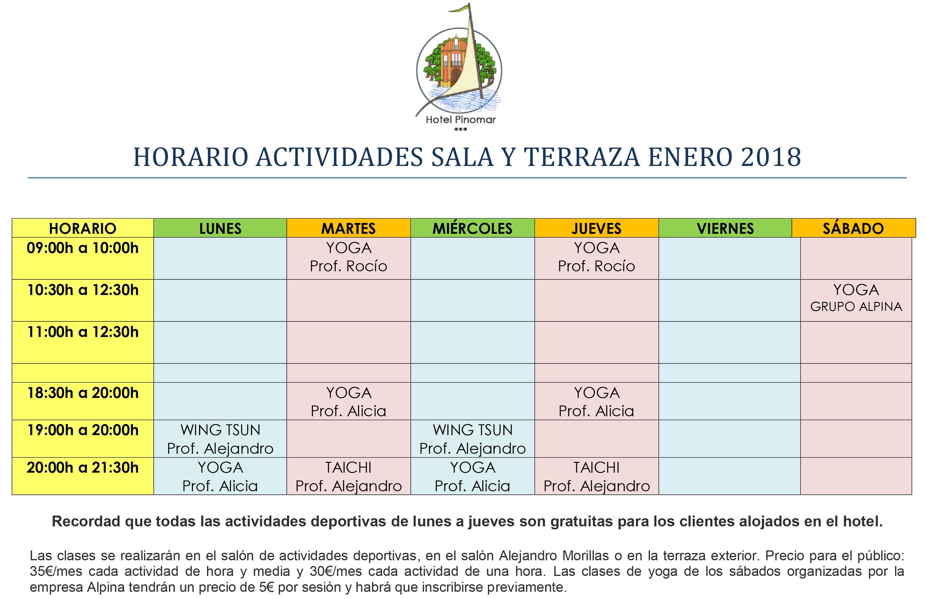 HORARIO ACTIVIDADES DIRIGIDAS ENERO 2018