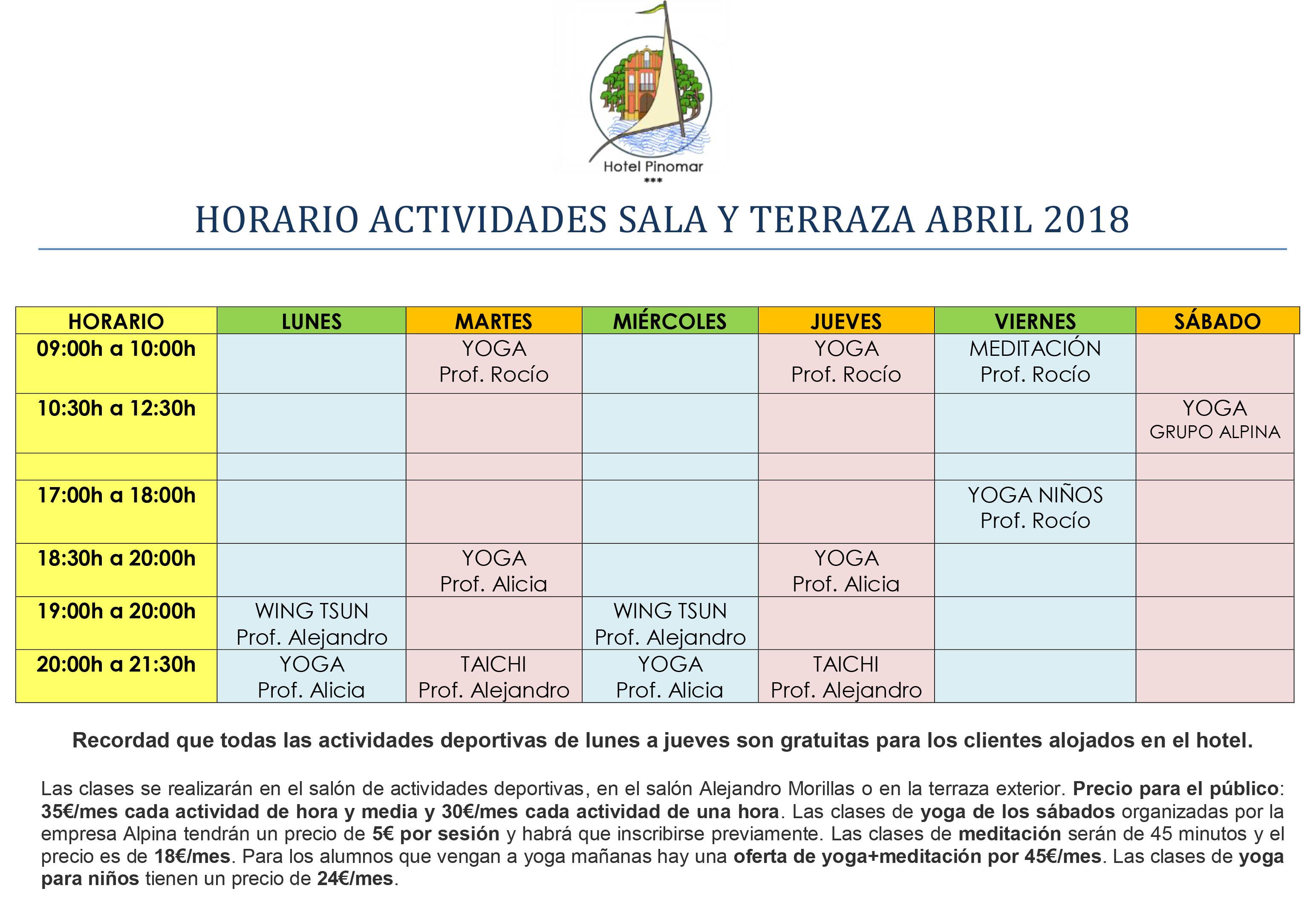 HORARIO ACTIVIDADES DIRIGIDAS ABRIL 2018