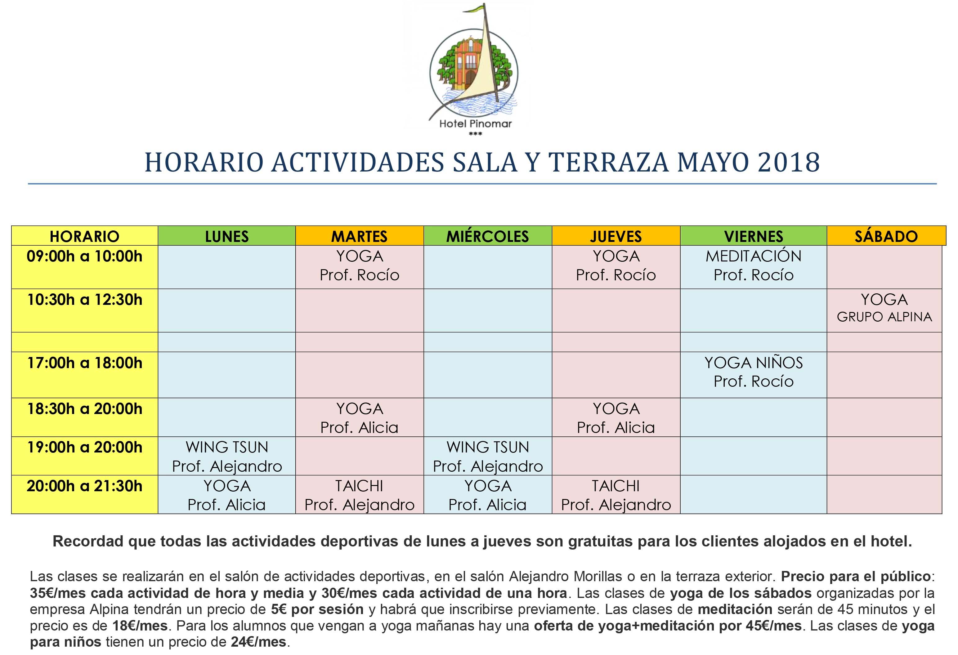 HORARIO ACTIVIDADES DIRIGIDAS MAYO 2018