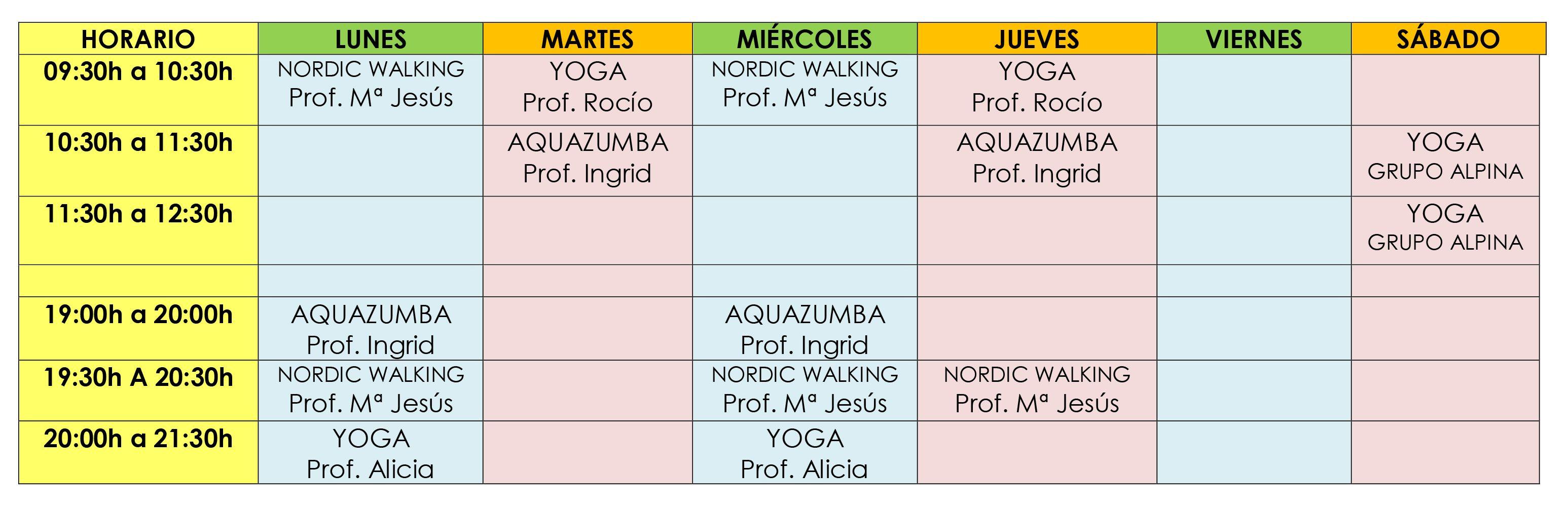 HORARIO ACTIVIDADES DIRIGIDAS JULIO 2019