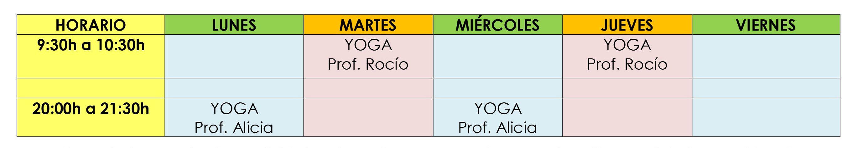 HORARIO ACTIVIDADES DIRIGIDAS SEPTIEMBRE 2018
