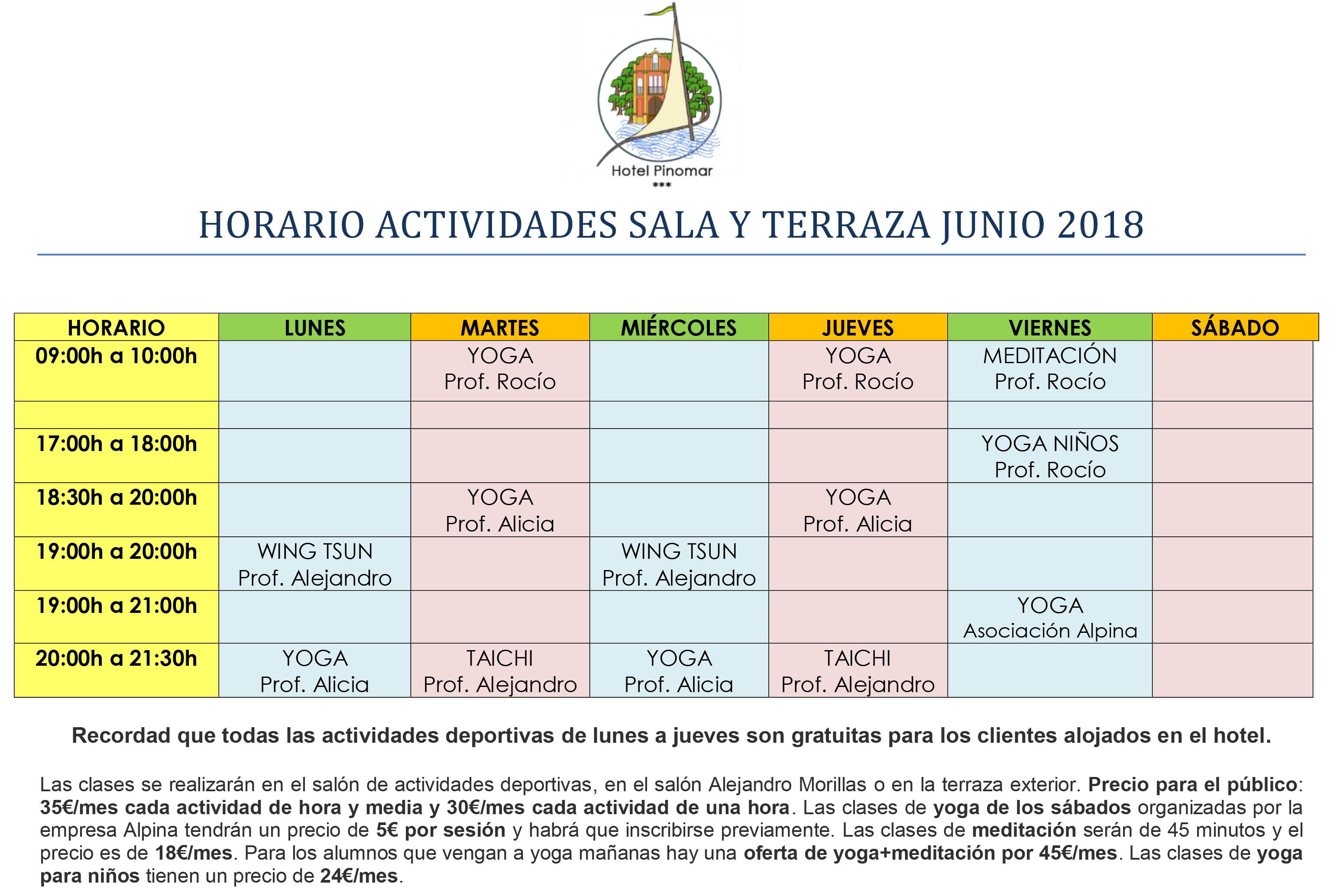 HORARIO ACTIVIDADES DIRIGIDAS JUNIO 2018
