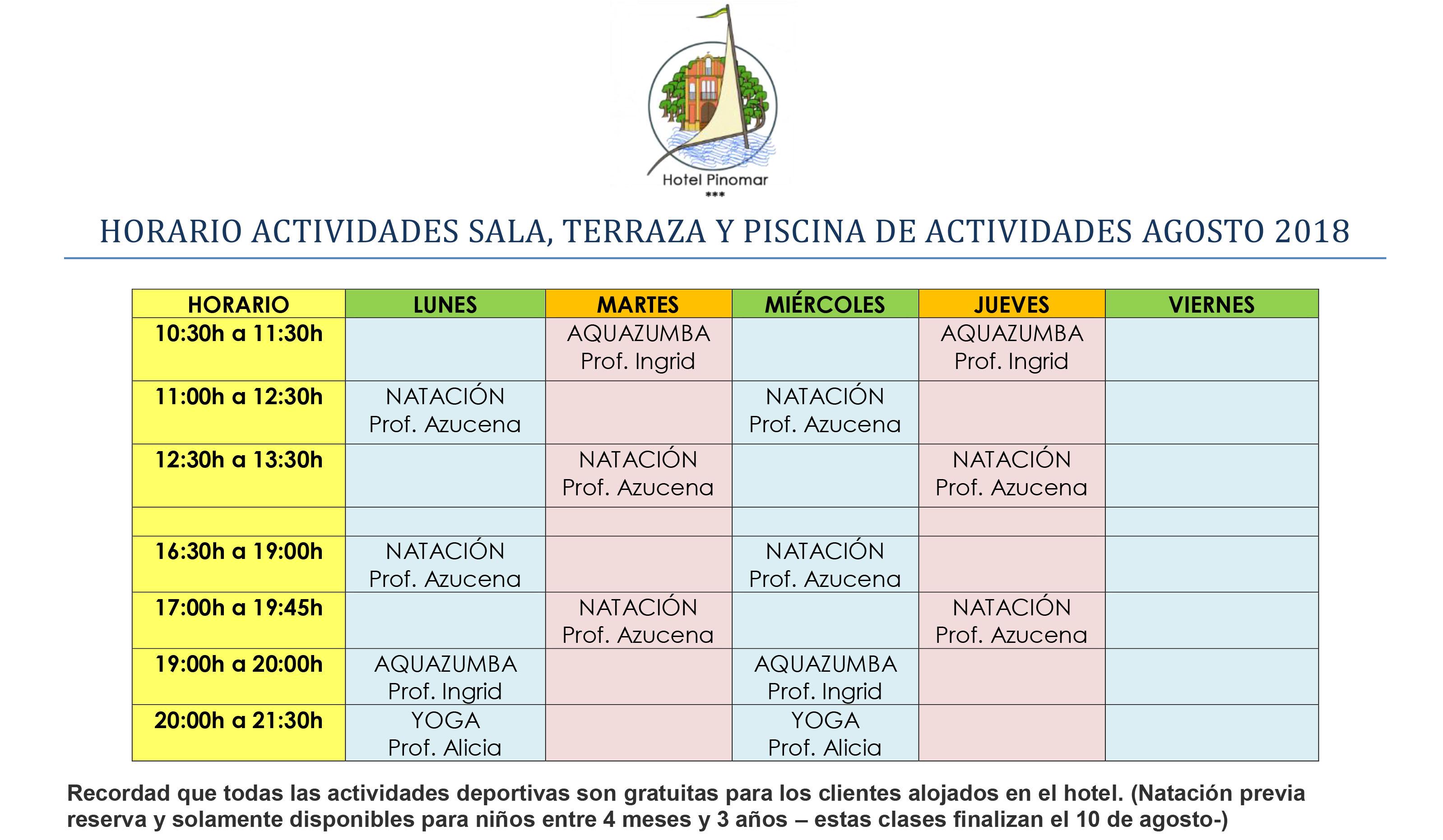 HORARIO ACTIVIDADES DIRIGIDAS AGOSTO 2018