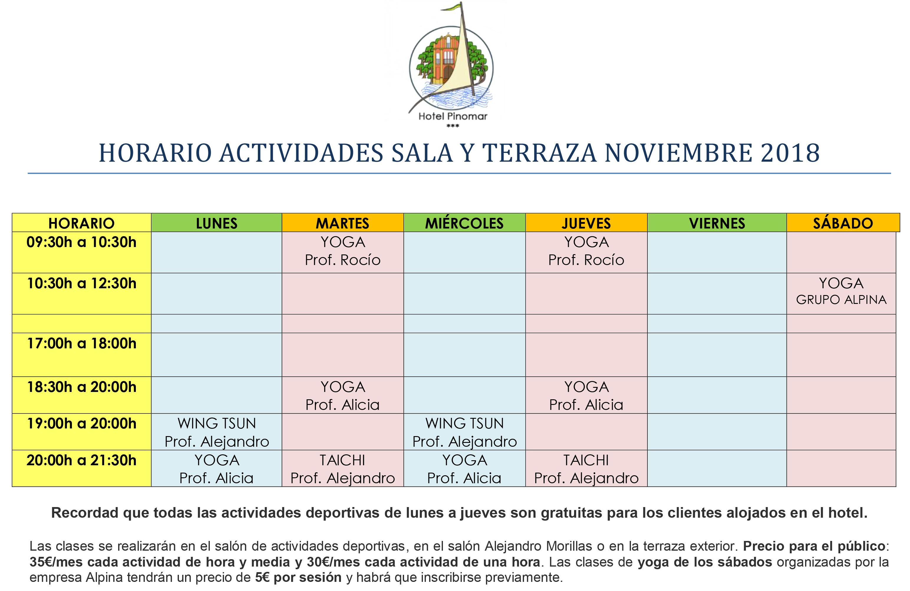 HORARIO ACTIVIDADES DIRIGIDAS NOVIEMBRE 2018