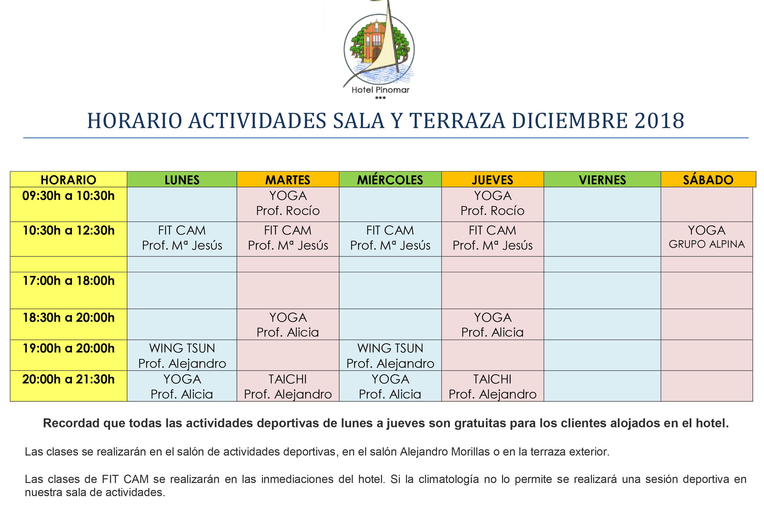 HORARIO ACTIVIDADES DIRIGIDAS DICIEMBRE 2018