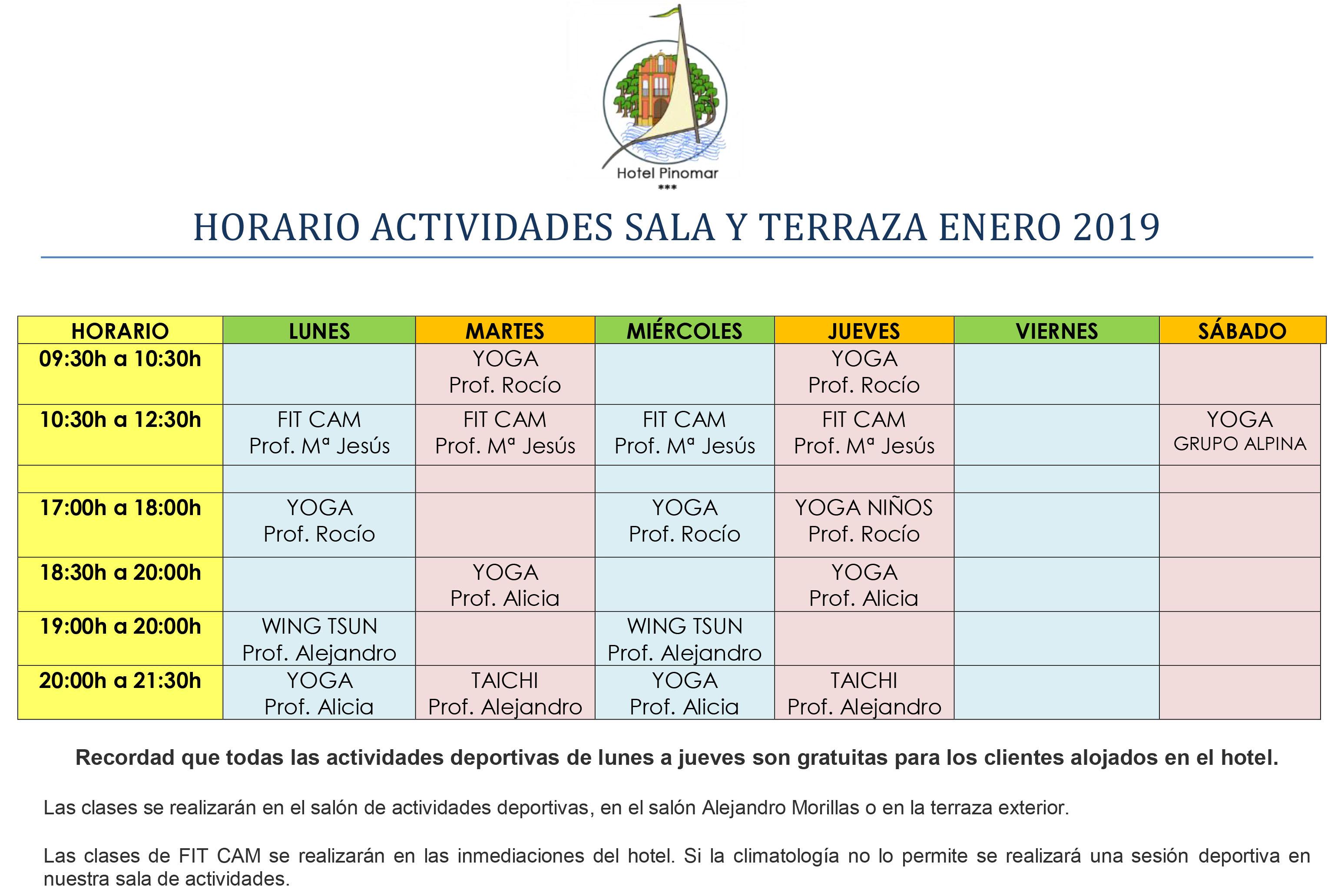 HORARIO ACTIVIDADES DIRIGIDAS ENERO 2019