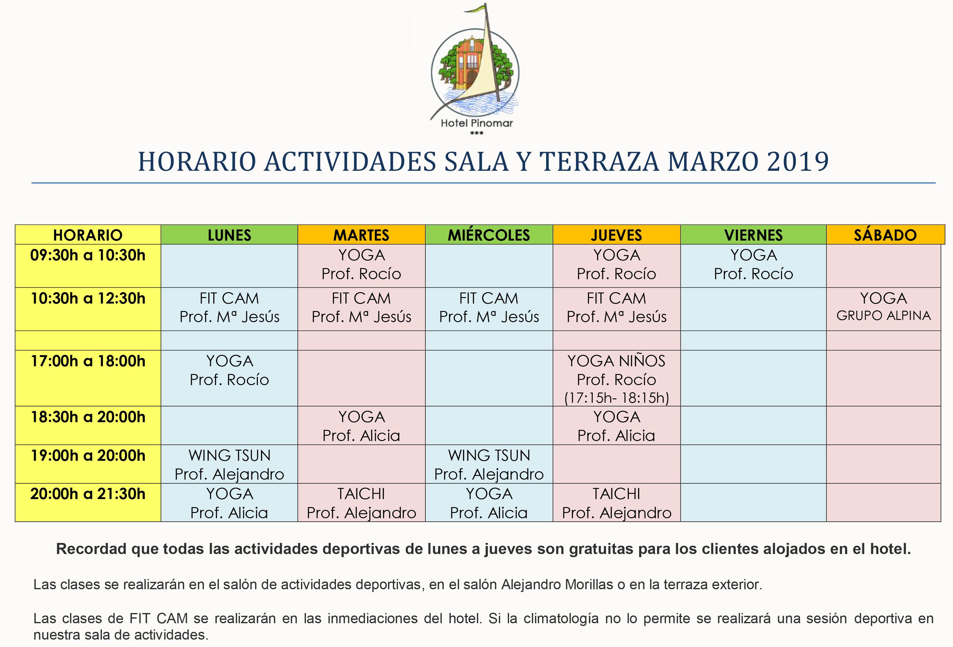 HORARIO ACTIVIDADES DIRIGIDAS MARZO 2019