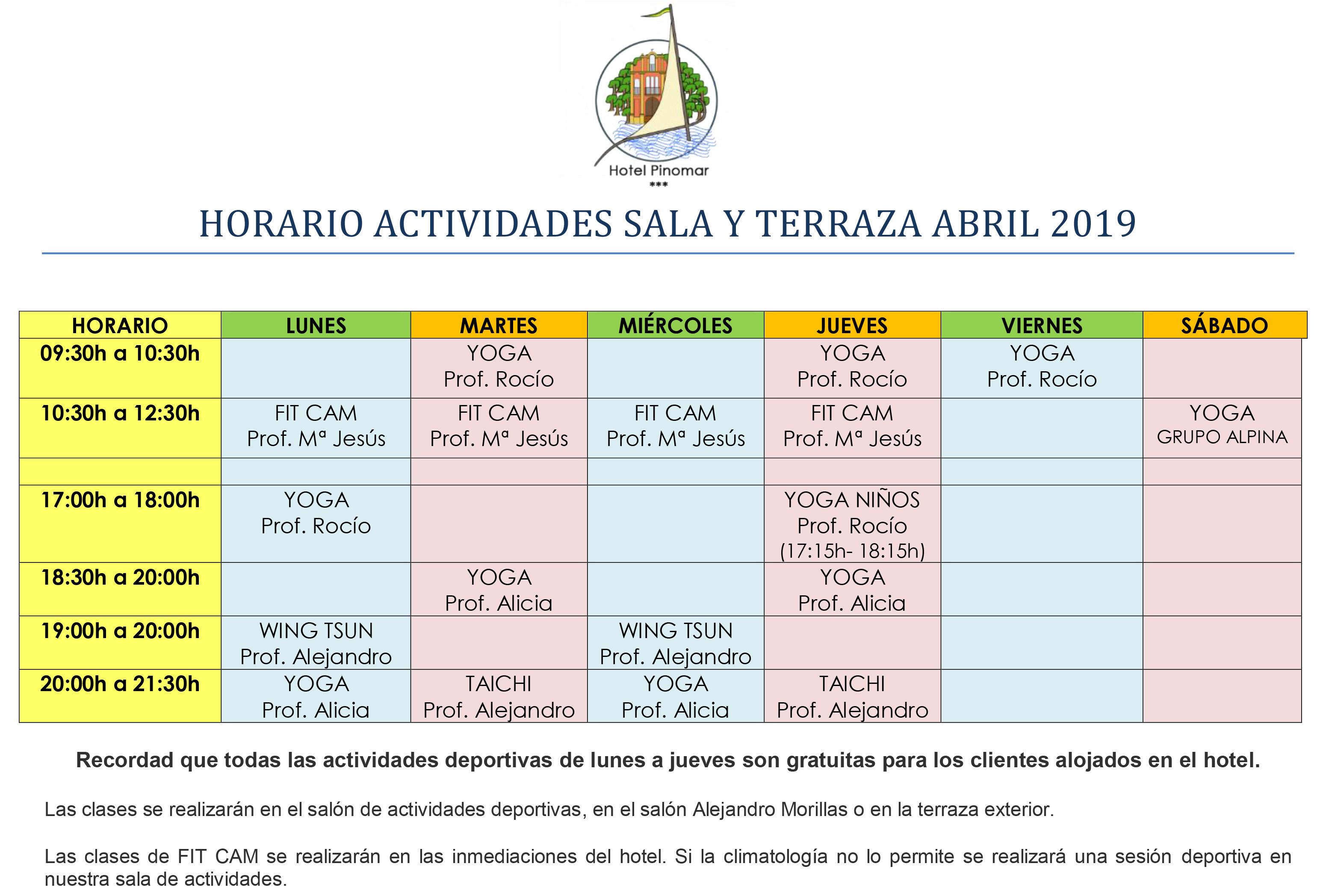 HORARIO ACTIVIDADES DIRIGIDAS ABRIL 2019