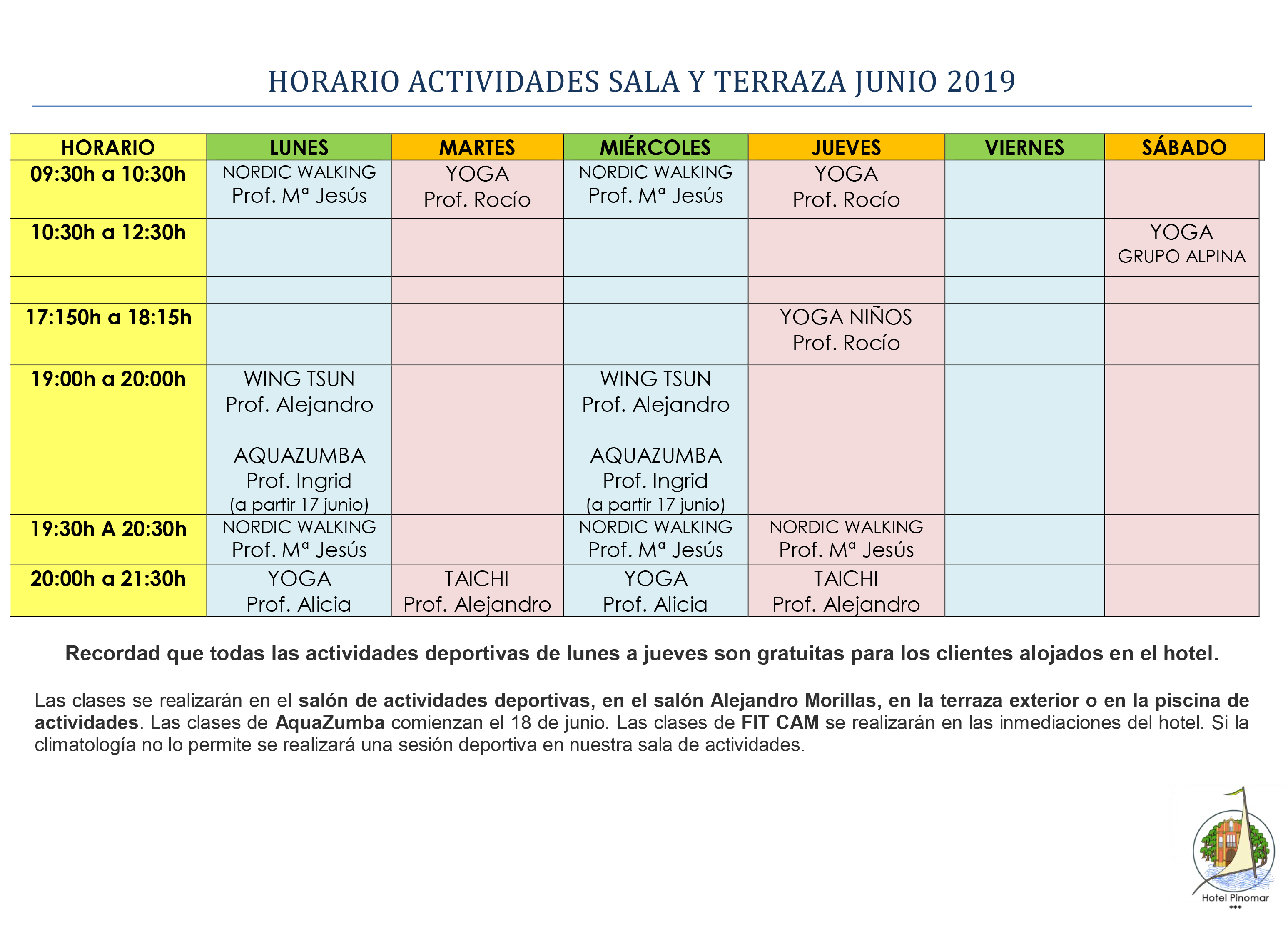 HORARIO ACTIVIDADES DIRIGIDAS JUNIO 2019