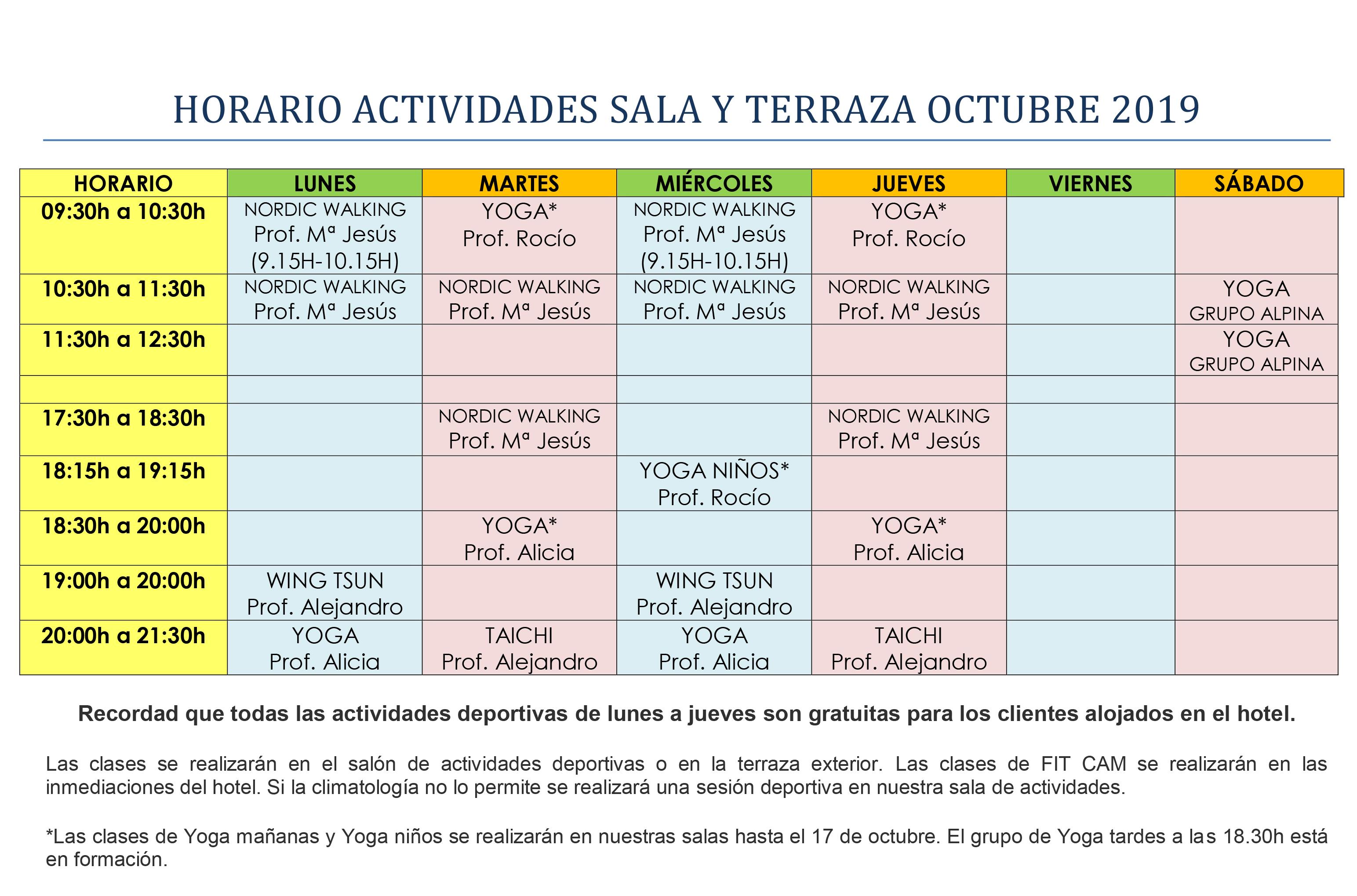 HORARIO ACTIVIDADES DIRIGIDAS OCTUBRE 2019